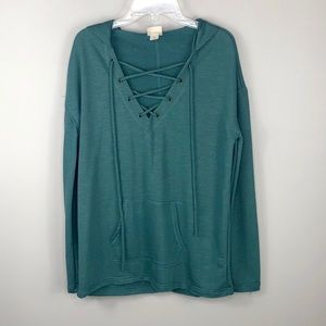 Mossimo Teal Blue Lace Up Hoodie Sweatshirt